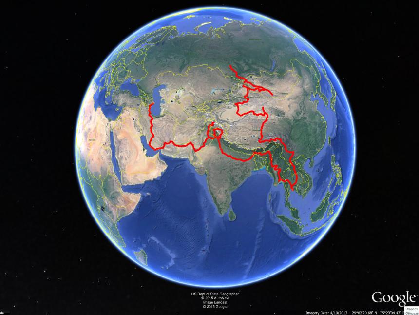 Первые два этапа в масштабе планеты. 30776 км. за рулем )
